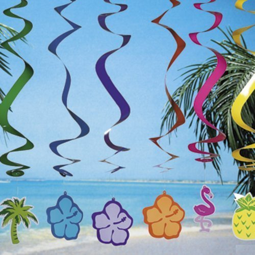 6 LUAU Swirl DECORATIONS/Hanging SPIRALS/PALM Tree/HIBISCUS/Pineapple/FLAMINGO/TROPICAL PARTY DECOR/30