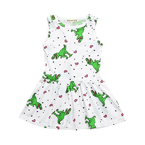 Jarsh Toddler Kids Baby Girls Dress, Rainbow Stripes Cloud Cartoon Dinosaur Printed Dress Coat (White, 5T(4-5Years Old))