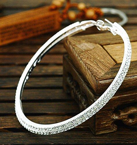 TreasureBay Bling Bling Stunning Diamante Earrings Large Hoop Earrings 6cm Diameter Single