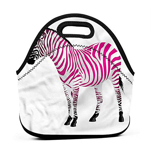 - Rugged Lunchbox Pink Zebra,Savannah Animal Art,double deck lunch bag for kids