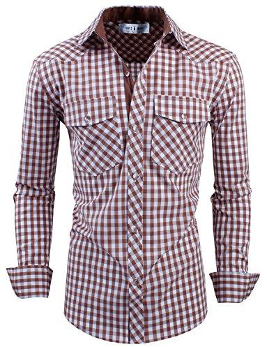 Tom's Ware Mens Classic Slim Fit Buffalo Plaid Longsleeve Shirt TWCS11-BROWN-M US