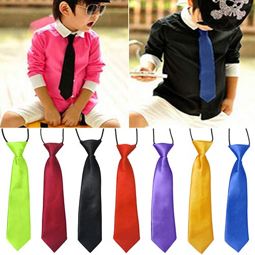 funie Tie Necktie Bowtie Pocket Square Handkerchief School Boys Kids Children Baby Wedding Banquet Solid Colour Elastic Tie Necktie