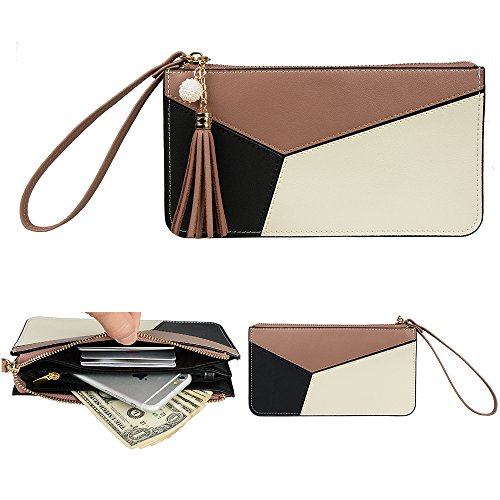 Khaki Mix (Befen Soft Leather Wristlet Phone Wristlet Wallet Clutch Tassels Wristlet /Wrist Strap / Card slots/ Cash pocket - Khaki Mix)
