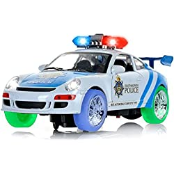 "Haktoys ATS Battery Operated Bump & Go Action 8"" Police Car Justice Enforcement Team 