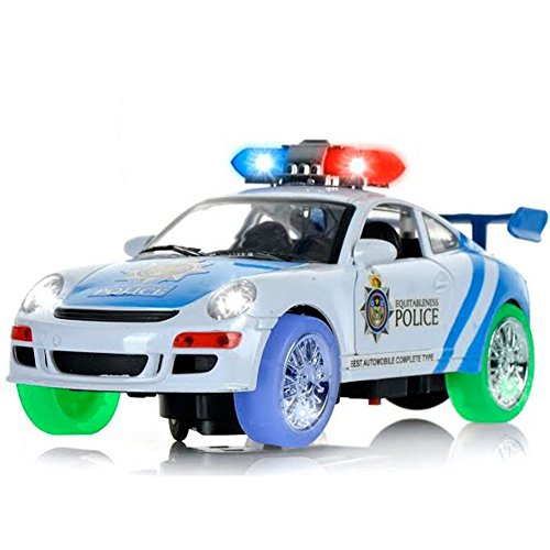 haktoys battery operated bump go action police car with lights and siren sound
