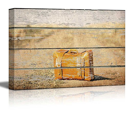 Vintage Suitcase on Vintage Wood Textured Background Rustic Country Style