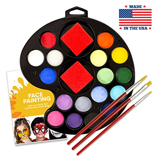 Face & Body Paint Kit by Keyp Creative - 17 Color Face Paint Palette Plus 3 Sponges - FDA-Approved, Paraben-Free, Hypoallergenic & Vegan Paint – Water-Based – Ideal For Birthday Parties, Halloween -