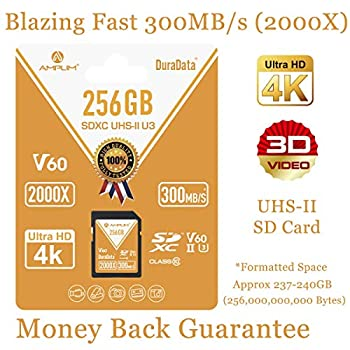 Image of UHS-II SD Card 256GB SDXC - Amplim High Performance 300MB/S (2000X) UHS2 Extreme Speed 256 GB/256G XC Memory Card. V60 4K 8K UHSII TF Flash for Fujifilm, Nikon, Olympus, Panasonic, Sony Video Cameras SD Cards