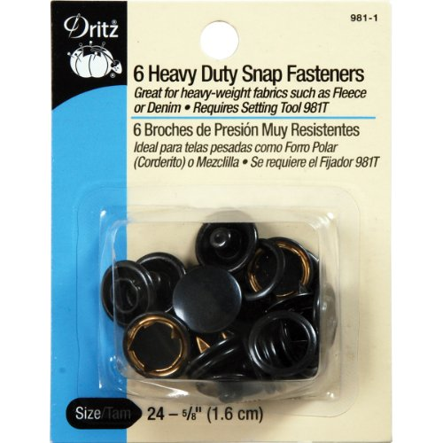 Dritz 981-1 Heavy Duty Snap Fasteners, Black, Size 24 (5/8-Inch) 6-Count