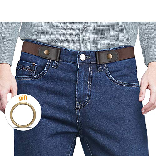 """No Buckle Stretch No show Belt for Men, Buckless Invisible Elastic Belt for Jeans Pants 1.38"""" Wide"""