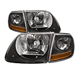 Headlights Depot Replacement for Ford F-150 / Lightning SVT Harley Black OE Style Headlights