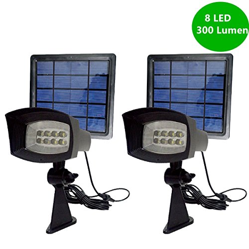 Newest 300 Lumen YINGHAO 300LM Solar Spotlight Solar Powered Outdoor Security Light Landscape Spotlight for Walkways Solar Flag Pole Light for Tree Garden Driveway Pool Area Etc