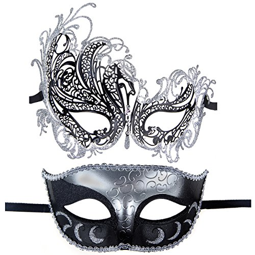 Couples Pair Half Venetian Masquerade Ball Mask Set Party Costume Accessory (Silver&Black) -