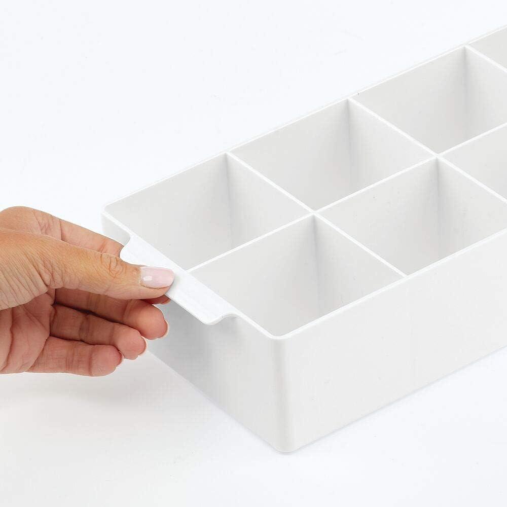 caf/é especias y otros alimentos blanco Pr/áctica caja de almacenaje para cocina y despensa Cesta con asa y 8 compartimentos mDesign Organizador de cocina Ideal para guardar t/é
