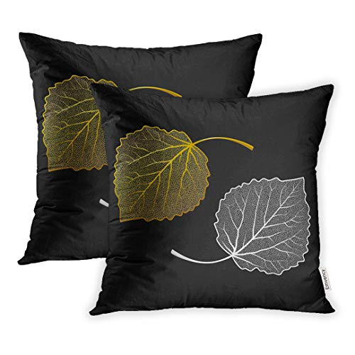 Emvency Throw Pillow Covers 16 x 16 Inches Set of 2 Leaf Jewelry Silver and Gold Skeletons of Leaves for Your Design Aspen Birch Pillow Case Decorative Cushion Cover Two Sides Print Pillowcase