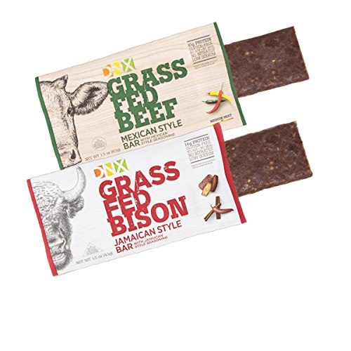 DNX Grass Fed Bison and Beef Paleo Protein Bars. Whole30 Approved. Epic Taste with Our Jamaican Spice Bison and Mexican Style Grass Fed Beef - Both with Organic Fruits and Veggies. (8 Bars) Grass Fed Bison