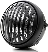 DLLL Black Universal 7'' High Power 35W H4 Halogen Vintage Antique Style Grill Motorcycle Halo Headlig