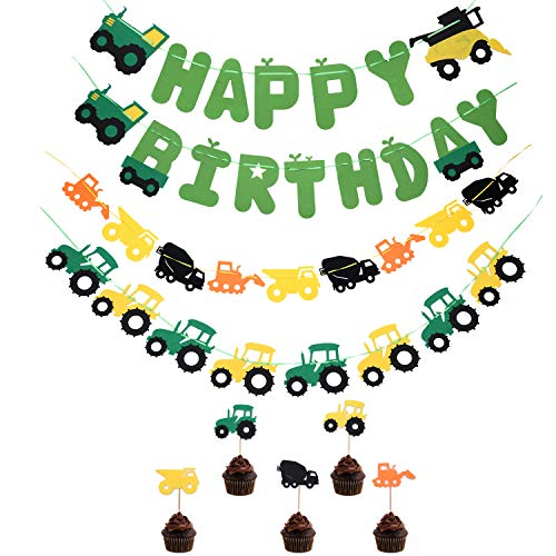 Green Tractor Farm Theme Birthday Party Decorations-Happy Birthday Banner,Green Tractor Banner Cake Topper,Construction Party Supplies and Favors for kids Boys Girls (Party Tractor)