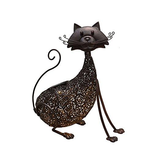 Oakland Living AZ650254-CAT-HB Cat Animal Solar Light Statue, Hammer Tone Bronze ()