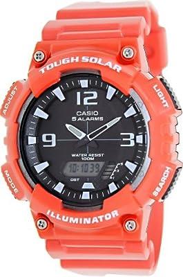 Casio #AQ-S810WC-4AV Men's Red Solar Analog Digital World Time Sports Watch by Casio