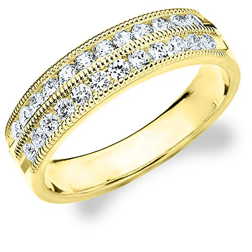 (.50CTTW Double Row Diamond Ring, 1/2ct 2-Row Wedding Anniversary Ring in 10K Yellow Gold - Finger Size)