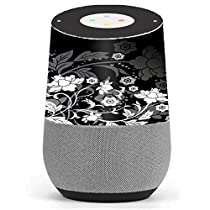 Skin Decal Vinyl Wrap for Google Home stickers skins cover/ Black Floral Pattern