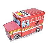 OVI Toys Storage Box Toy Bin Toy Chest Foldable Storage Seat - Fire Truck