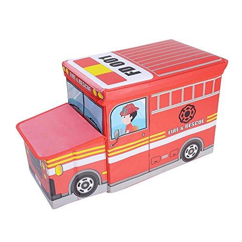 (OVI Toys Storage Box Toy Bin Toy Chest Foldable Storage Seat - Fire Truck)