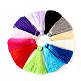 Linsoir Beads 12pcs Multi-Colors 60mm Mini Cotton Tassel Cord DIY Jewelry Decoration