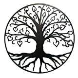 Cheap Tree of Life with Hearts Metal Wall Sculpture, 23″, Natural Black Version