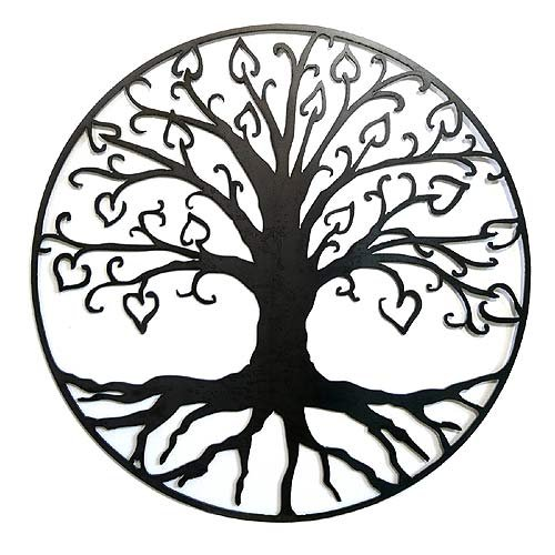 Elizabeth Keith Designs Tree of Life with Hearts Metal Wall Sculpture, 23″, Natural Black Version