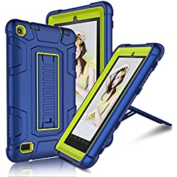 Fire 7 2015 Case, Elegant Choise Fire 7 Case with Kickstand, High Impact Resistant Hybrid Three Layer Defender Shockproof Protective Cover Case for Amazon Fire 7 Inch Tablet (5th Generation) (Yellow)