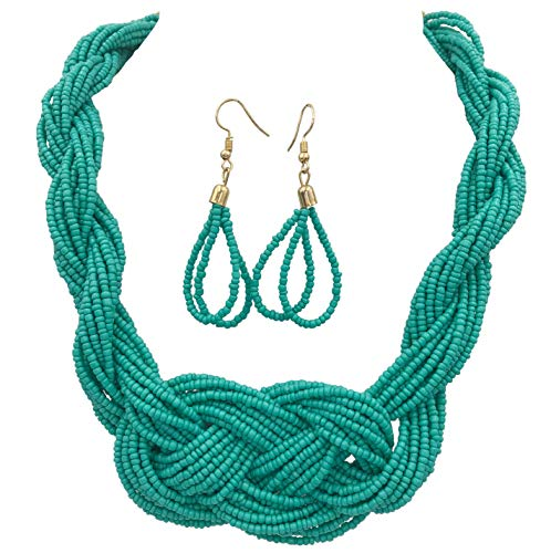 Gypsy Jewels Multi Row Layered Seed Bead Statement Necklace and Dangle Earring Set (Teal Aqua Blue ()