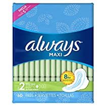 Always Maxi Size 2 Feminine Pads with Wings, Super Absorbency, Unscented, 60 Count (Packaging May Vary)
