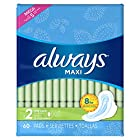 Always Maxi Size 2 Long Pads with Wings, Super Absorbency, Unscented, 60 Count, Packaging May Vary