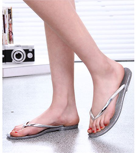 Argent Sandales Femmes Mode flops Yunguang Flip Plage D'été Cristal Jelly Cool 38eu Plastique En Taille Bains color Gold Plat De Toe Pantoufles Salle BCwqdz