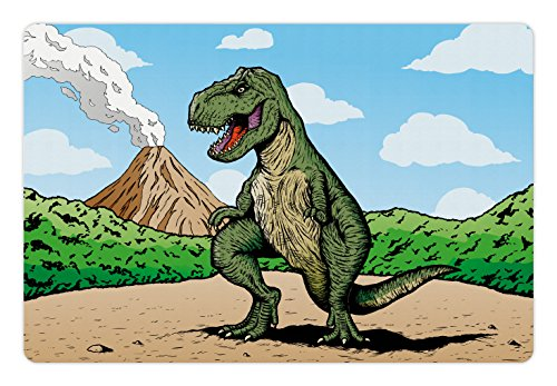 (Ambesonne Dinosaur Pet Mat for Food and Water, Giant Lizard T-Rex on Active Volcano Untouched Jungle Backdrop, Rectangle Non-Slip Rubber Mat for Dogs and Cats, Green Pale Brown Pale Blue)