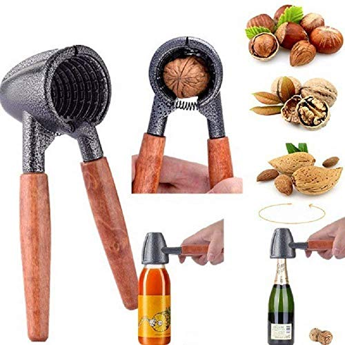 Nut Cracker Tool with Wood Handle, Kitchen Tool Heavy Duty Nut Sheller Plier Bottle Opener for Pecan,hazelnuts, Almonds, Walnut,Macadamia Nuts. Brazil Nuts, Etc
