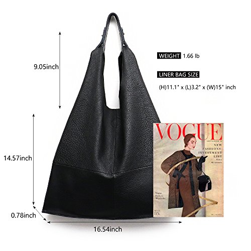 Handbag Women's Slouch Leather Bag Shoulder Vintage Genuine Large Shopping Bags Snap Hobo STEPHIECATHY Black Casual Tote Handmade dxrBx