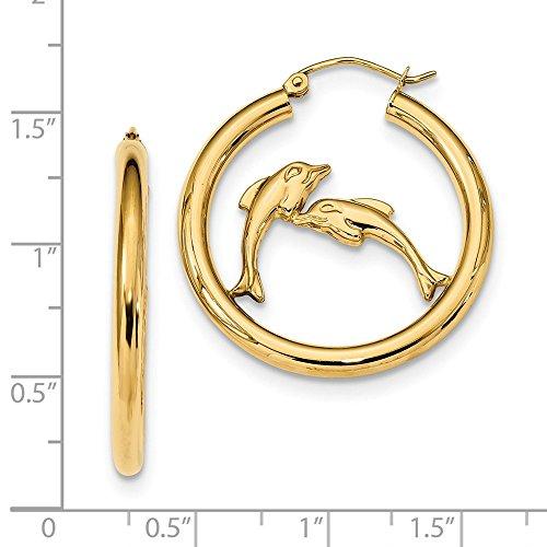 14k Polished Dolphins Hoop Earrings