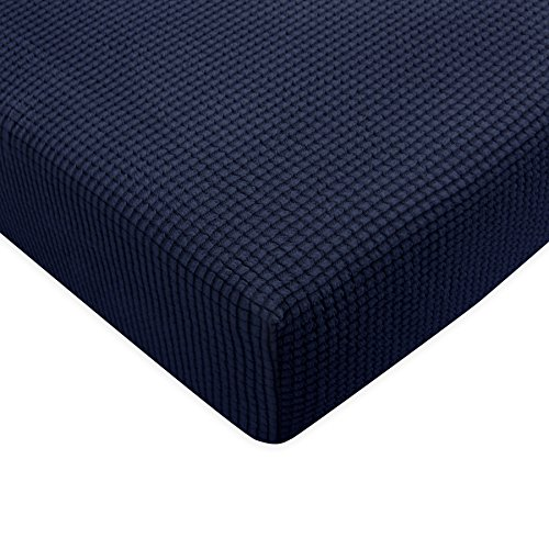 (Subrtex Spandex Elastic Couch Stretch Durable Slipcover Furniture Protector Slip Cover for Settee Sofa Seat (Chair Cushion, Navy))