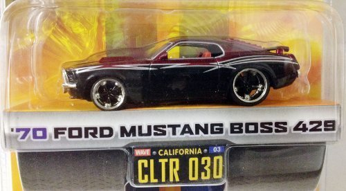 DUB CITY BIG TIME MUSCLE / '70 FORD MUSTANG BOSS 429 / Black & Burgundy w silver stripes / CLTR 030 / 1:64 Scale Die-Cast Collectible / JADA Toys 2005