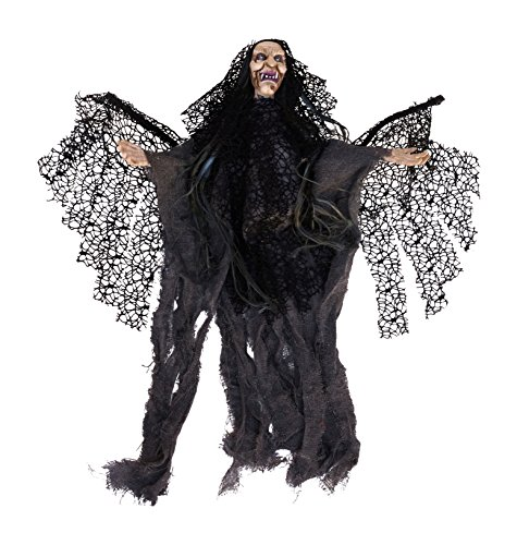 Animated Winged Witch with Sound and LED Eyes Hanging Halloween Decoration (Animated Flying Witch)
