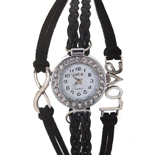 Women watchs love Vintage Design Braided leather,Quartz.(Black (Braided Womens Watch)
