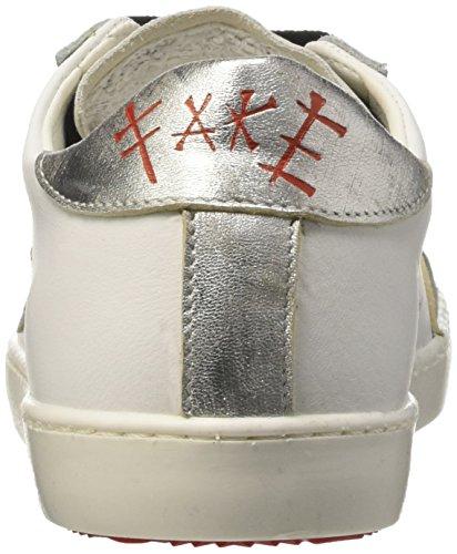 Fake By Chiodo 003, Scarpe Low-Top Unisex Adulto Argento (Vitello Bianco-velour White/Foil Scrub Argento)