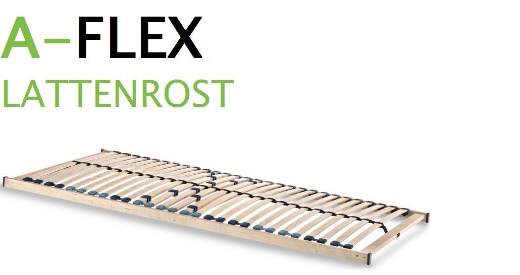 Spenger-Moebel 7 Zonen Lattenrost 80x200 cm, A-Flex A-Flex cm, 28 Federholzleisten, Mittelgurt und Härtegradverstellung ceeaff