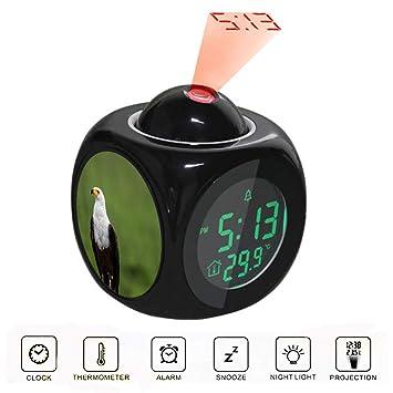 Amazon.com: Reloj despertador de proyección LCD digital con ...