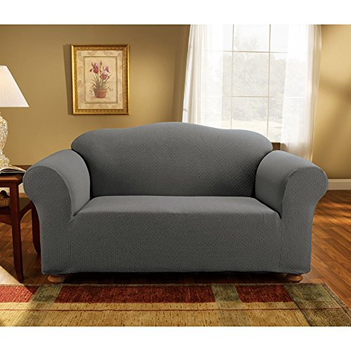 (SureFit Simple Stretch Subway 1-Piece - Loveseat Slipcover - Gray)
