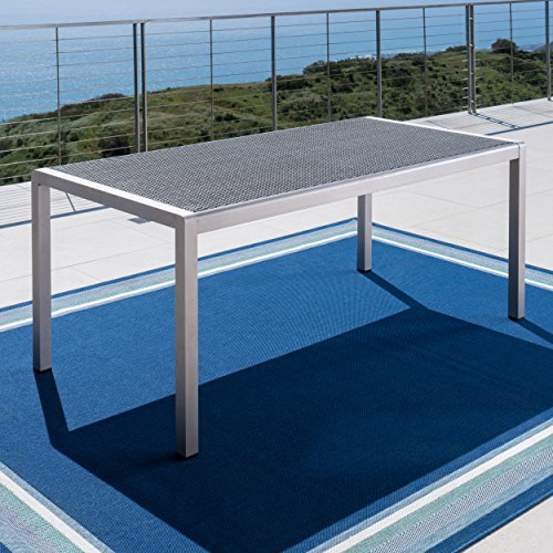 Christopher Knight Home 300364 Coral Bay Outdoor Aluminum Dining Table w/Wicker Top, Grey