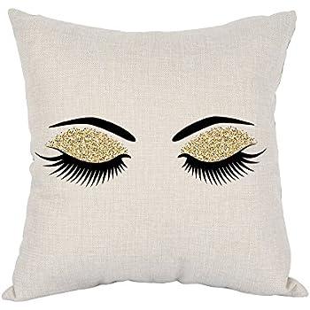 Moslion Eyelashes Pillow Home Decorative Throw Pillow Covers Pair of Black Eyelashes Cotton Linen Cushion Cover Square Pillow Cases for Men Women Boys Girls Kids Sofa Bedroom Livingroom 18